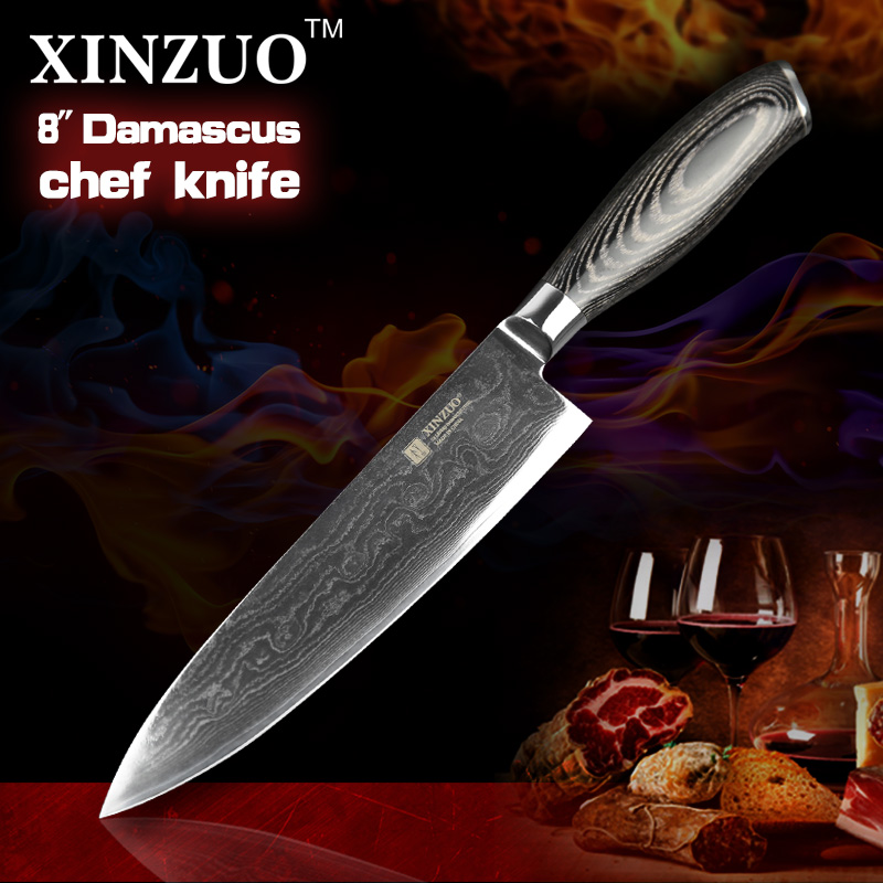 8 inch chef font b knife b font 73 layers Japan Damascus steel kitchen font b