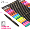 24 Colors Twin Dual Watercolor Artist Brush Sketch Marker Pen 0.4mm Fine Tip Water Based Markers for Art and Graph Drawing