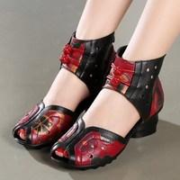 2018 Spring Summer Women Shoes Flat Slides Platform Sandals Genuine Leather Handmade Flower Cover Toes Comfortable Women Slides