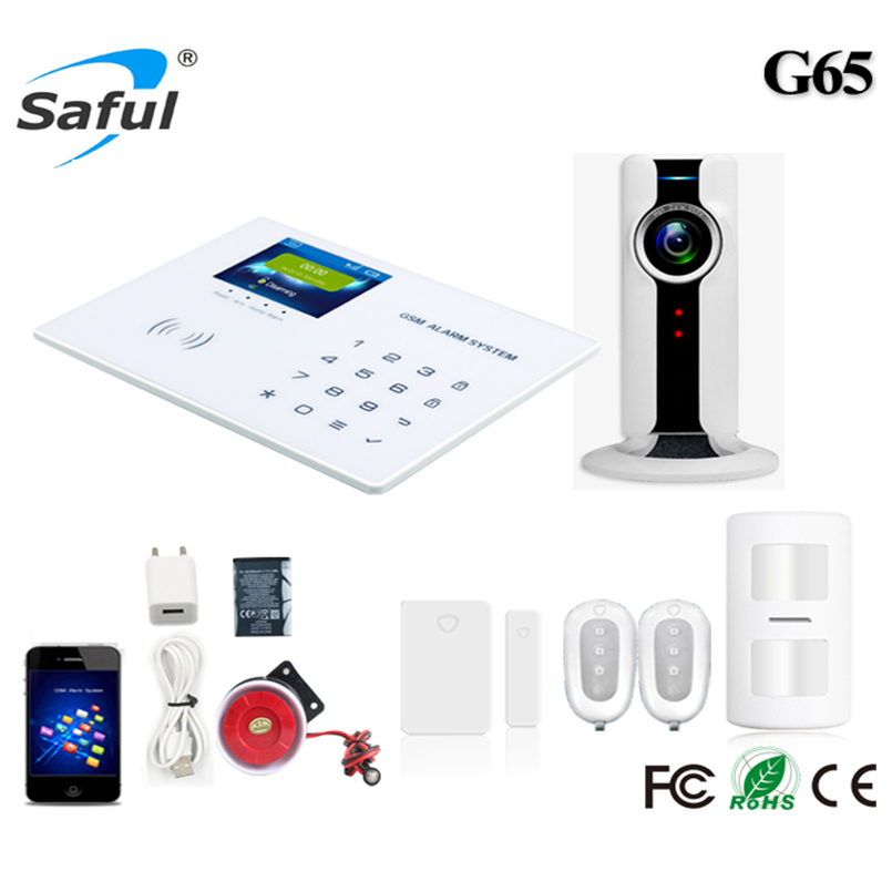 Saful GSM Alarm system Wireless with G65 ios/android APP LCD touch keyboard alarm system PIR Motion Sensor APP Remote Control wireless gsm sms burglar alarm home security system with pir motion sensor door magnet sensor app control ios android