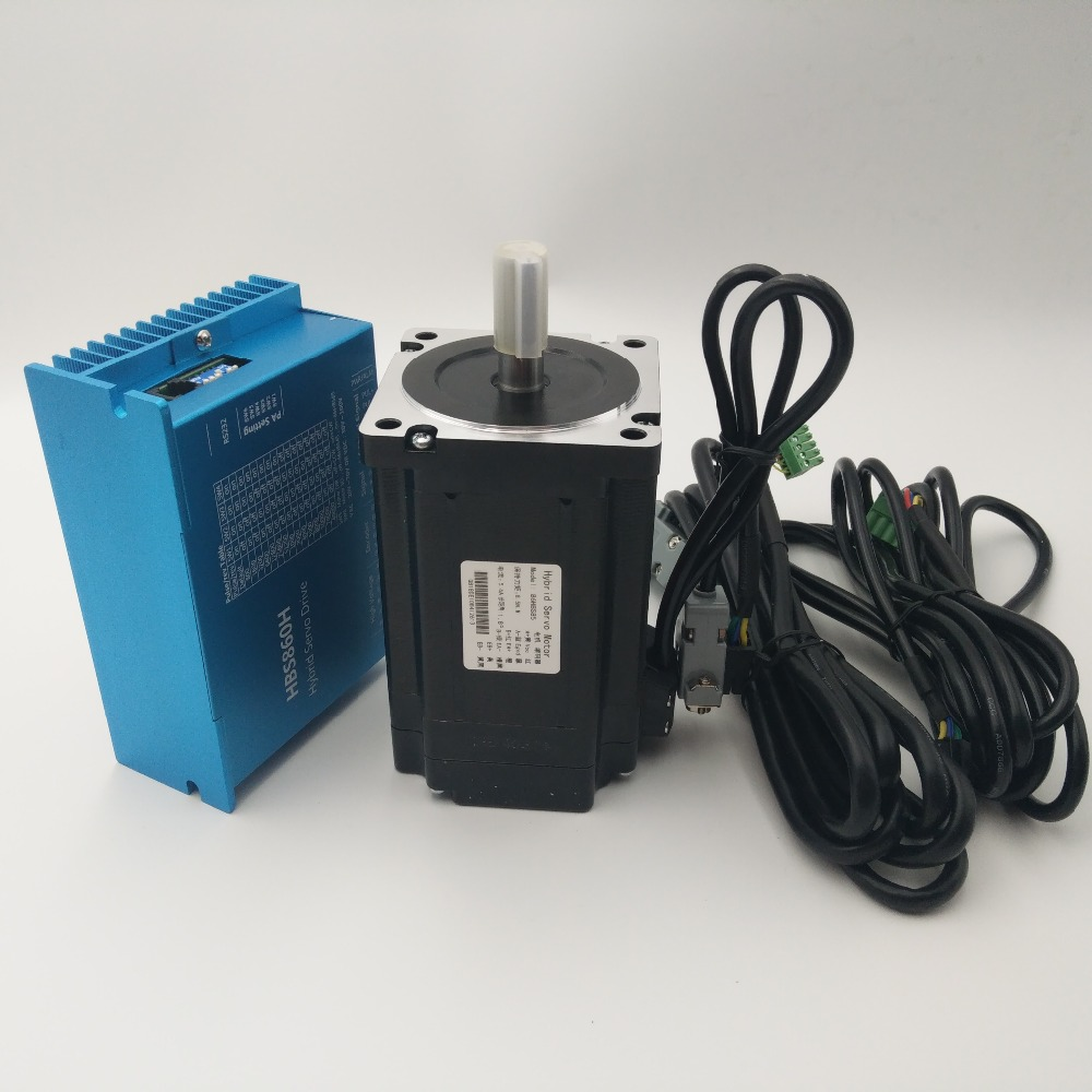 Cheap China NEMA34 8.5Nm CNC Closed Loop Stepper Drive&Motor kits AC60V HBS860H+86HBS85 Easy Servo for CNC  X-Y tables toothed belt drive motorized stepper motor precision guide rail manufacturer guideway