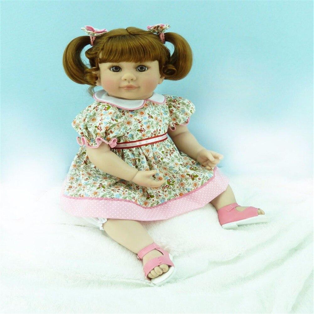 20 inch 50cm Silicone baby reborn dolls Children's toys flower skirt girl : 91lifestyle