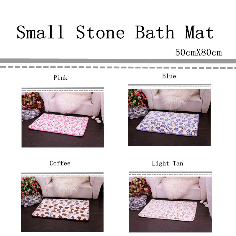 Free Shipping 50cmX80cm Bath Mat Chair Cushion Small Stone Floor Carpet Home Doormat Fashion Absorbent Non-Slip Prayer Mat
