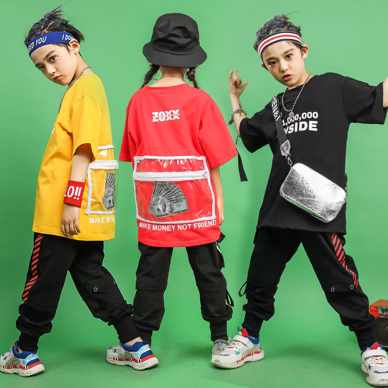Child Ballroom Jazz Dance Clothing For Girls Boys Hip Hop T Shirts Dancing Costumes Casual Sweatshirt Jogger Pants Streetwear