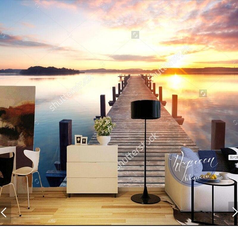 ④Custom natuurlijke landschap behang. de zonsopgang, 3D foto ...