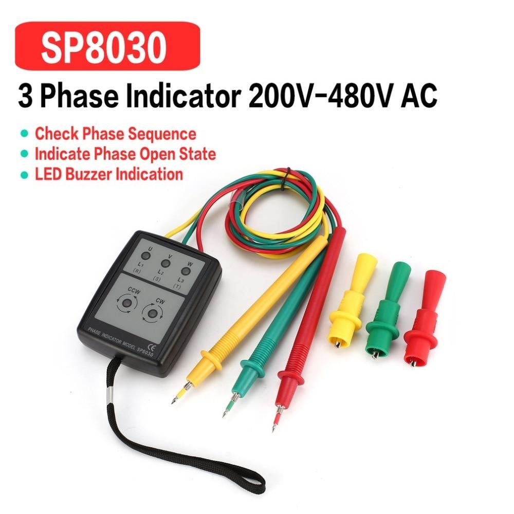 SP8030 3 Phase Rotation Tester Digital Phase Indicator Detector LED Buzzer Phase Sequence Meter Voltage Tester 200V-480V AC