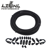 LZONE AN6 Black Nylon Racing Hose Fuel Oil Line + Fitting Hose End Adaptor KIT JR7312+SL10AN6 BK