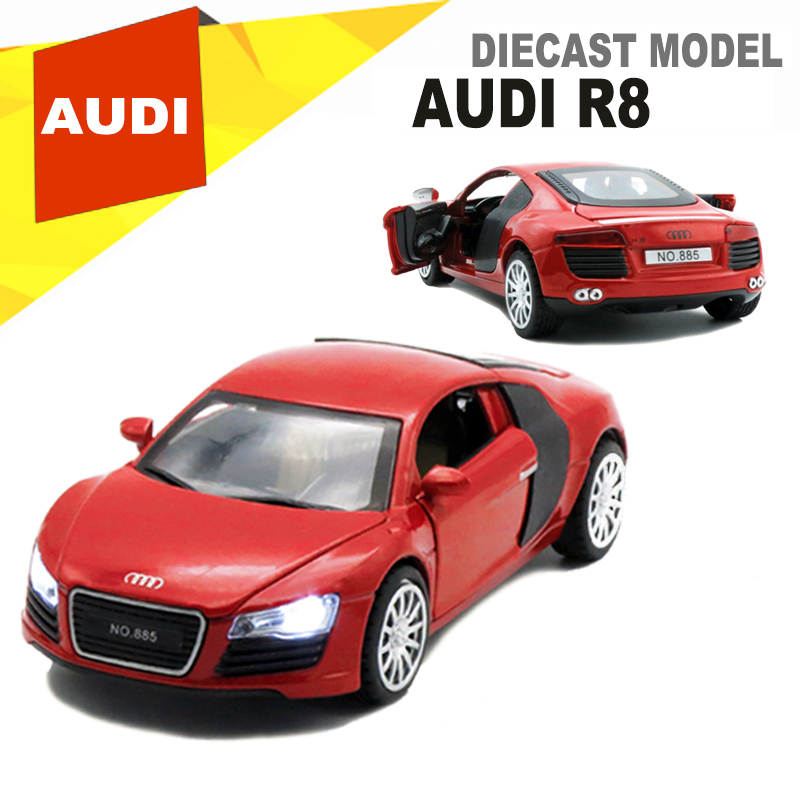 1/32 Scale AUDI R8 Diecast Models Car Toys As Kids Gift With Functions