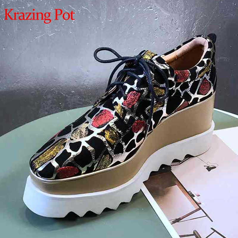 Krazing Pot 2019 cuir de mouton impression peau cales pompes à talons hauts de haute qualité sur mesure chaussures à lacets de luxe chaussures augmentées L18