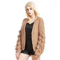 Womens Fashion Hand Knitted Sweaters Chunky Bead Lantern Sleeve Loose Cardigan Casual Thick Sweater Female Knitwear Winter Coat