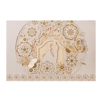 50 pieces White Gold Laser Cut Buttefly Bride and Groom Design Wedding Invitations cards with envelope