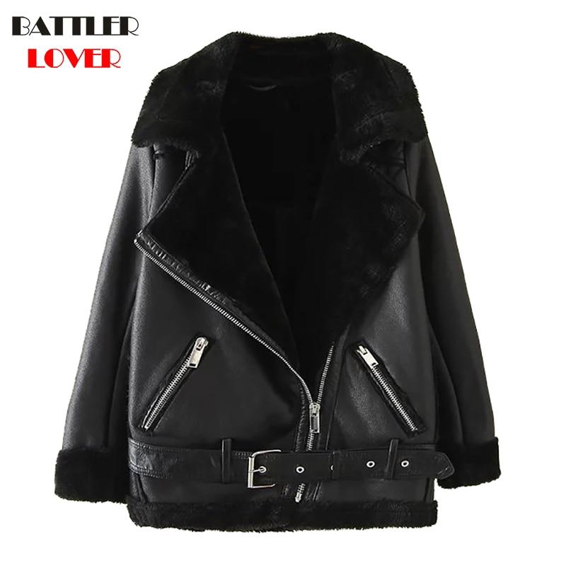 2018 Women Fur   Leather   Jacket Winter Thick Warm Jacket Womens Rivet Luxury Design Hip Hop Biker Jacket Mujer Femme   Leather   Coats