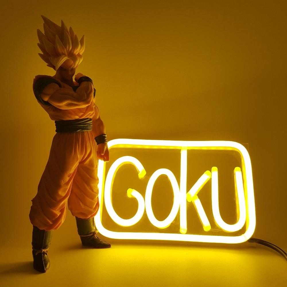Dragon Ball Z Son Goku Luminaria LED Neon Light Anime Dragon Ball Z Goku Led Night Lights Room Decorative Gift