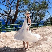 Summer Beach Dress Women Backless Cross Bundle Waist White Pleated Sling Maxi Dress box pleated cross wrap bardot dress