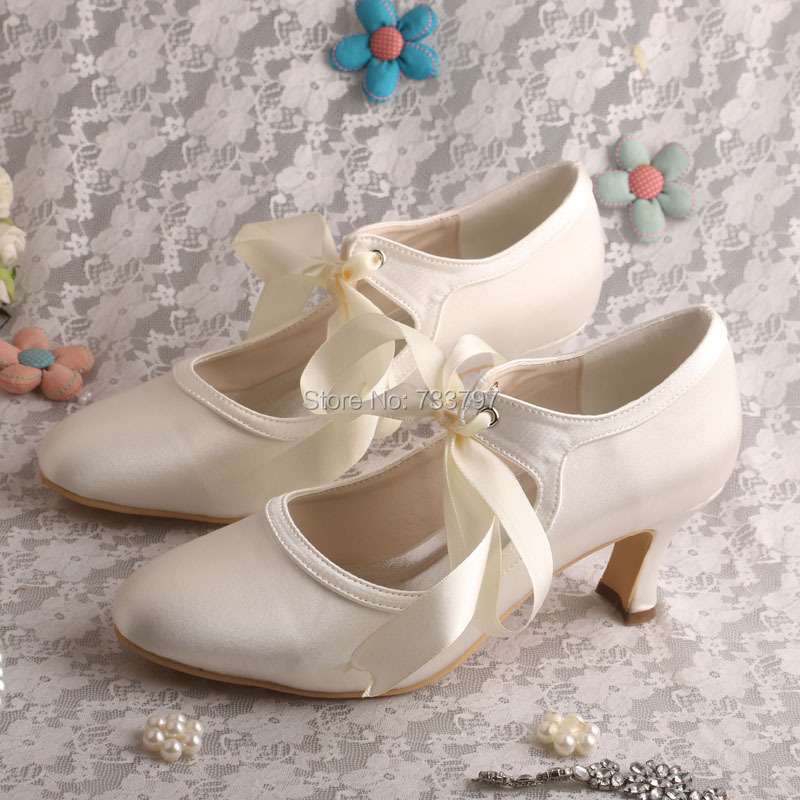 Wedopus Custom Handmade Mary Janes Marfil Satin Shoes Wedding Pumps Closed Toe Womens