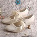 Wedopus Custom Handmade Mary Janes Marfil Satin Shoes Wedding Pumps Closed Toe Womens