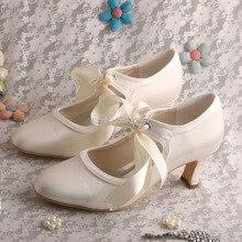 Wedopusที่กำหนดเองที่ทำด้วยมือแมรี่เจนส์Marfilซาตินรองเท้าแต่งงานปั๊มปิดนิ้วเท้าสตรี