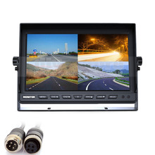DIYSECUR 4CH 4PIN DC12V-24V 10 Inch 4 Split Quad LCD Screen Display Color Video Security Monitor for Car Truck Bus CCTV Monitor