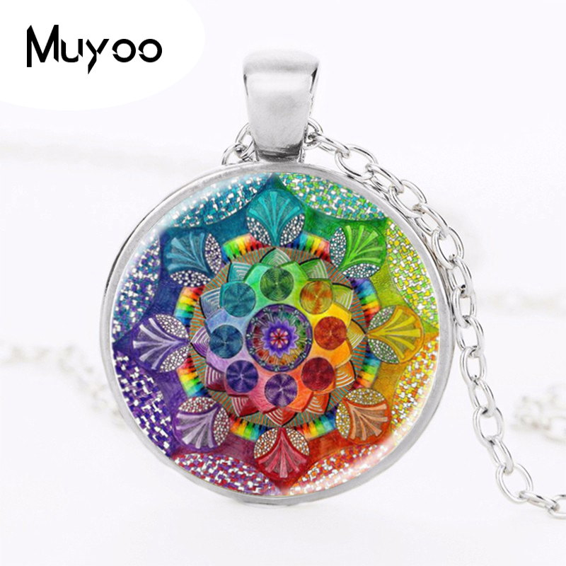 e03805420ea8c Handmade henna yaga necklace om symbol buddhism Mandala Necklace Pendant  Art Jewelry Glass Photo Necklace HZ1