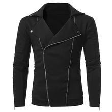 Мужская Панк куртка на молнии, топы, двойная косая Тонкая Повседневная Готическая мотоциклетная куртка, уникальная Байкерская крутая плотная теплая куртка, одежда