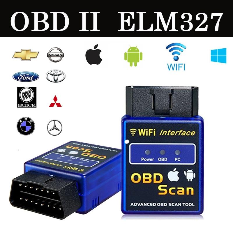 Prix pour 2017 Dernière Wifi bluetooth OBD2 Interface Can-Bus Scanner ELM 327 OBD II Prend En Charge Android/IOS/PC système OBD2 Outil De Diagnostic