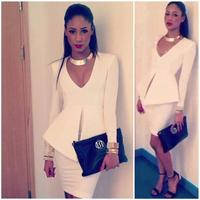New Brand Women Elegant White Office Dress Suit Sexy Deep V Neck Bodycon Mini Dress For
