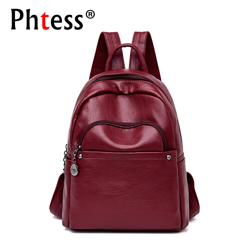 2019 Women Soft Leather Backpacks High Quality Sac A Dos Female Backpack For Girls Vintage Bagpack Mochilas Ladies Back Pack New