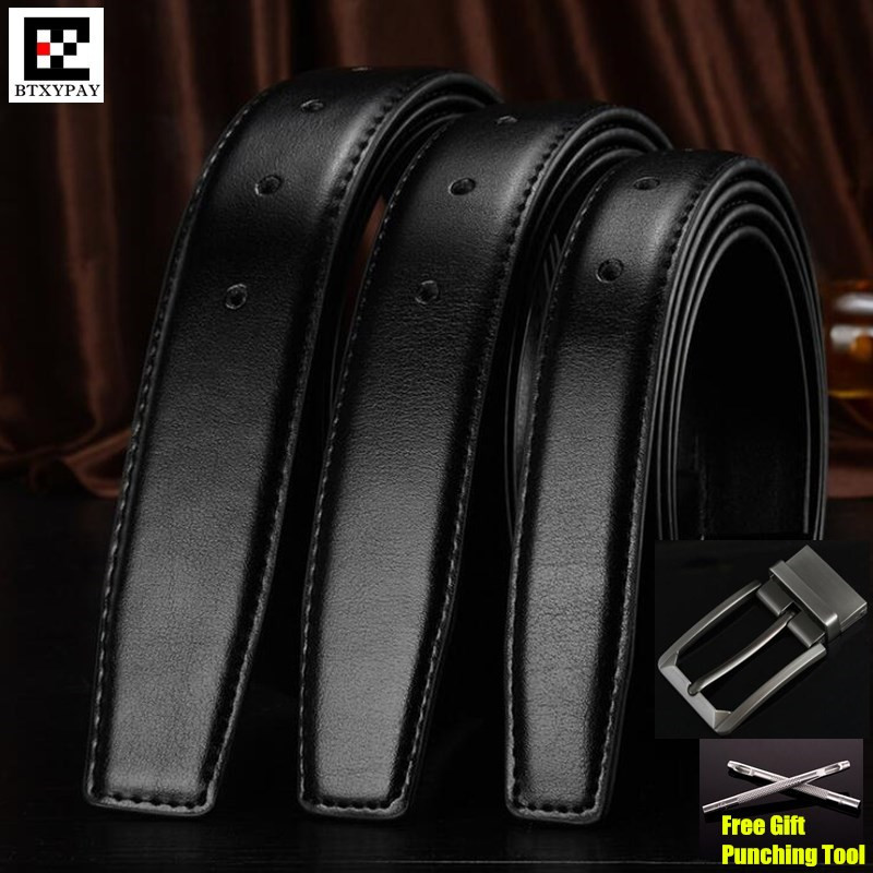 30-35mm Cowhide Genuine Leather Belts for men Brand Strap male pin buckle vintage jeans Waistbands,Drilling Style+punching tool