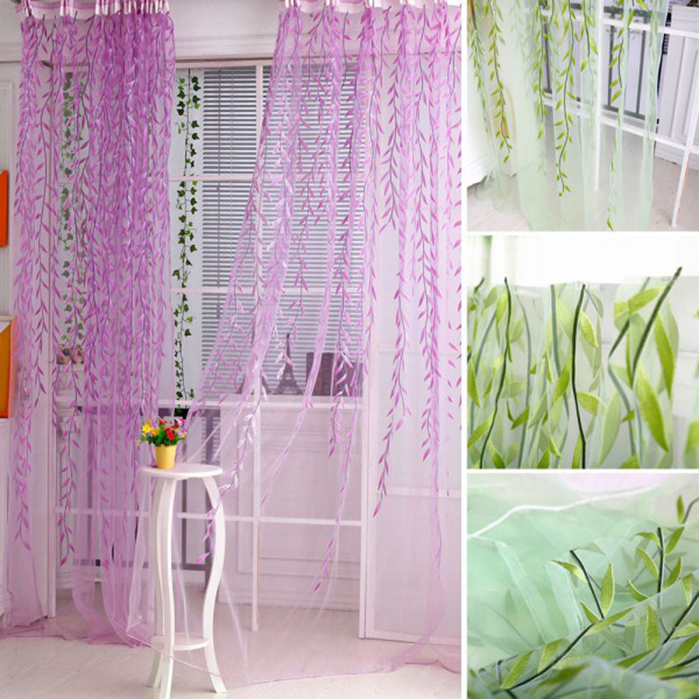 Sheers Curtains Willow Leaf Tulles 3d Window Sheer