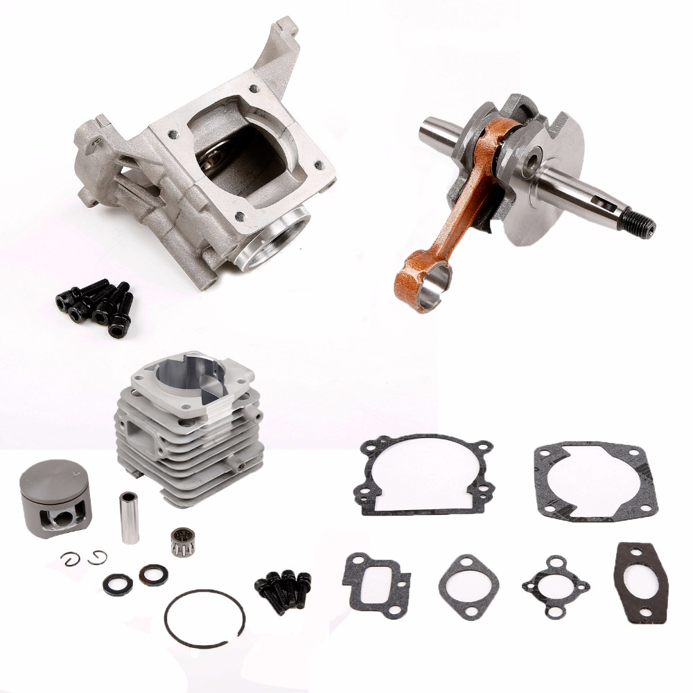 45cc cylinder Kit crankshaft and crankcase for 45cc Motor Gas Engine for 1/5 hpi rovan km baja 5b 5t 5sc losi rc car parts engine fan cylinder cover pull start fit zenoah cy for hpi baja rv km 5b 5t 5sc parts