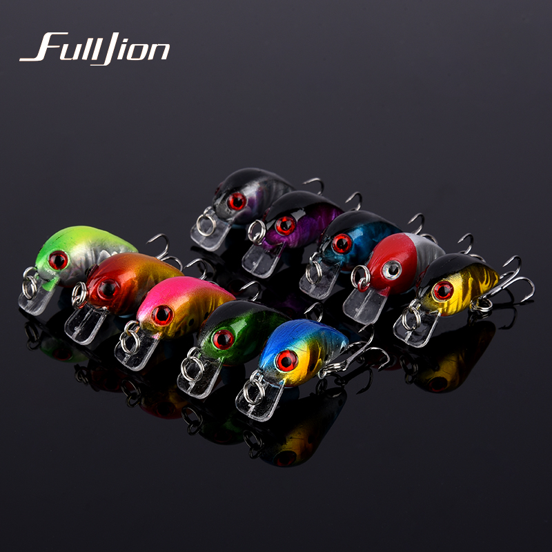 Fulljion 10pcs/lot Crank Fishing Lures Wobbers With 10# Hooks Fishing Tackle For Fly Fishing Crankbaits Pesca Small Hard Baits 30pcs set fishing lures kits anti beat metal fishing lure colorful crankbaits tackle de pesca hard spoon baits fake baits