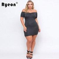 Ryeon Women Plus Size Sexy DRESS Grey Off Shoulder Femme Autumn Dresses Large Big Sizes Women