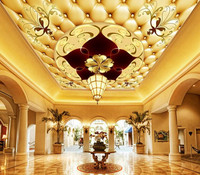 Luxury Customized 3d Photo Wallpapers Ceiling Murals 3d European Villa Hotel Lobby Large Frescoes Wall Paper Room Decoration
