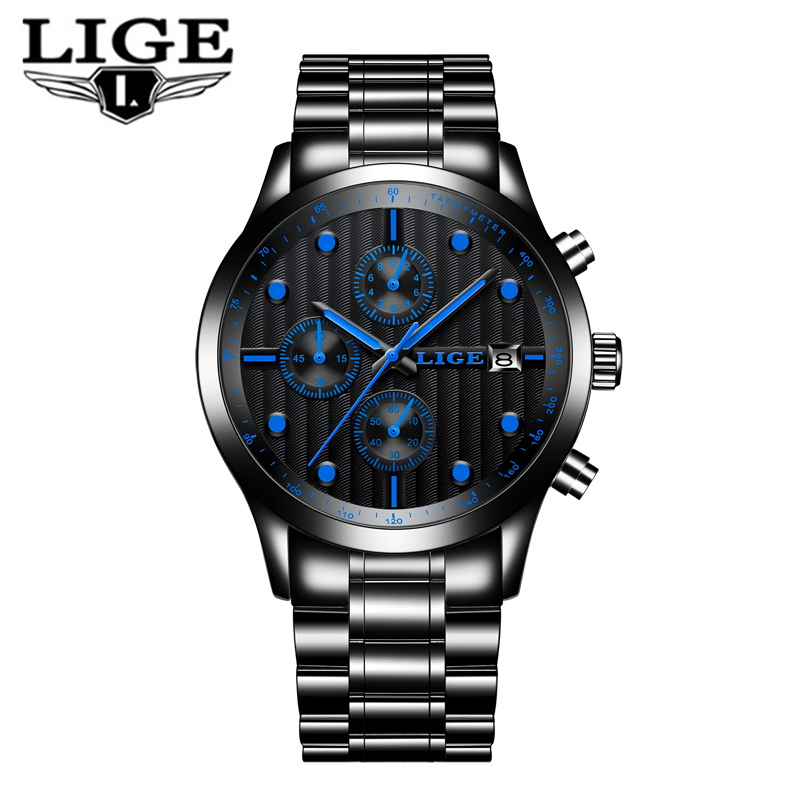 LIGE Watch Men Fashion Sport Quartz Clock Men Watches Top Brand Luxury Full Steel Business Waterproof Watch Relogio Masculino men s watches curren fashion business quartz watch men sport full steel waterproof wristwatch male clock relogio masculino