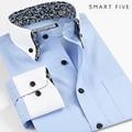 Smart Five Man's Shirt Double Collar Long Sleeve Men Shirt Slim Fit Camisa Masculina 2017 New Summer Brand Clohting Size 6xl