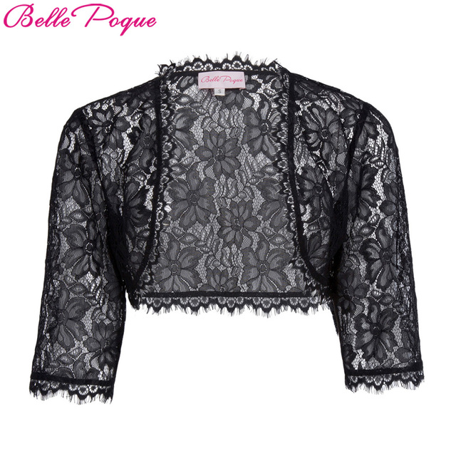 Belle Poque Jacket Women 3/4 Sleeve Open Stitch Shrug Black White Coat 2018 Ladies Fashion Lace Bolero Jackets Outerwear Coats
