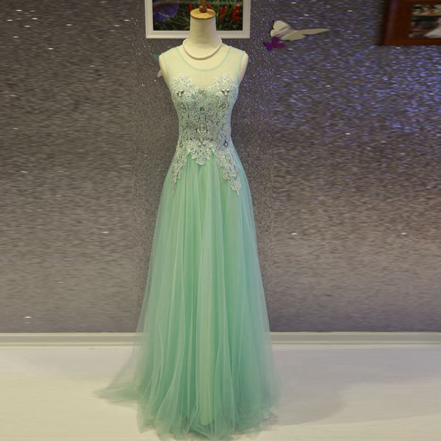 Robe demoiselle d'honneur 2018 new lace beaded crystal A-Line Floor-Length Light purple Mint Green   bridesmaid     dresses   long