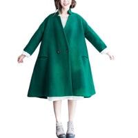 wool coat Brand Long Coat Fall Winter Women's Coat New Casual Hit Color Lapel Coat Thicken Warm Loose Woolen Coat Women