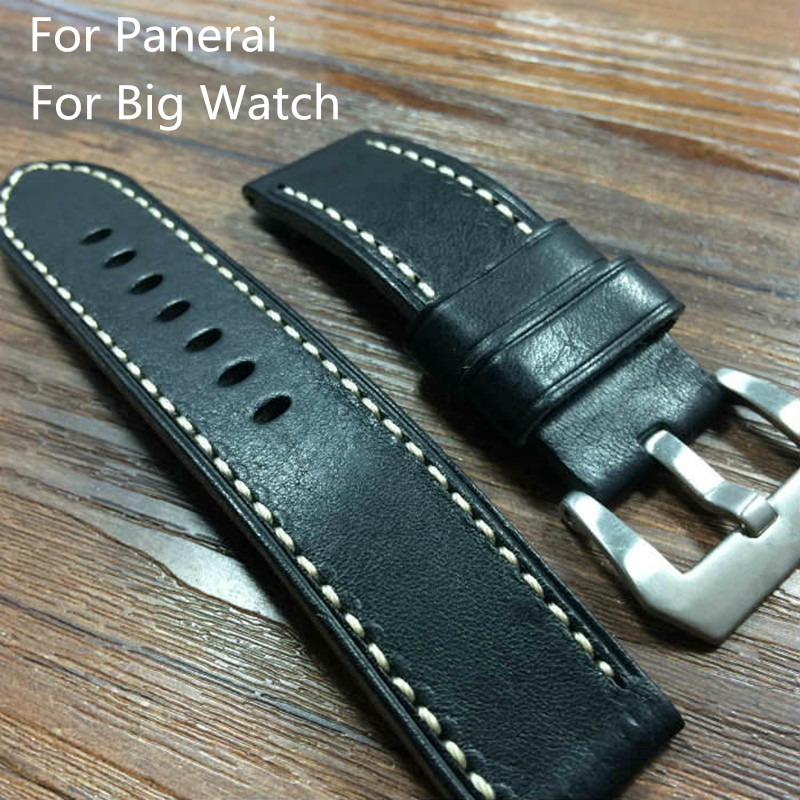 Handmade Calfskin Leather Black Brown 24mm 26mm thick Watch Strap Belt, Retro Leather Watchband For Pam And Big Watch  22mm 24mm 26mm frosted dark blue retro soft mate genuine leather watchband watch strap for pam and big watch free shiping