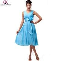 Grace Karin Sexy V Cou Bleu Courtes Robes De Bal 2017 Genou longueur Mousseline De Soie De Noce Dress Robes De Bal Robe De Festa 6015