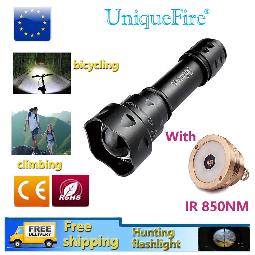 UniqueFire 1200LM Flashlight T20 XML Zoomable 5 Modes Rechargeable Lampe Torche+3 Modes Drop in IR 850nm Led Pill