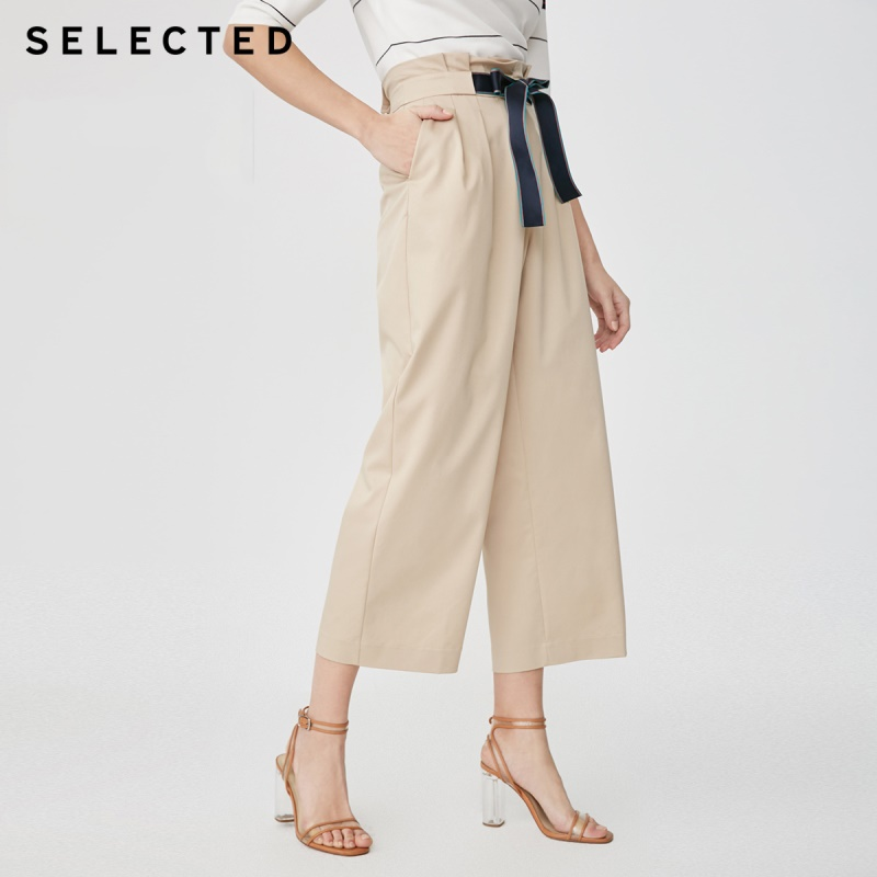 SELECTED new women s with micro elastic high waist commuting business casual wide leg pants S