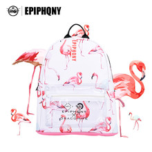 Animal Bird Printing Clear Backpack Women PU Leather School Bagpack Bag Flamingo Fashion Lady Backpack(China)