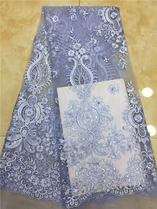 French Net Lace Fabric 2019 Latest African Guipure Lace Fabric with Embroidery Mesh Tulle Gold Cord