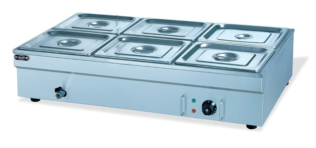 Electric 6 Pans Bain Marie Stainless Steel, 1.8kw Hotel Countertop Food  Warmer,
