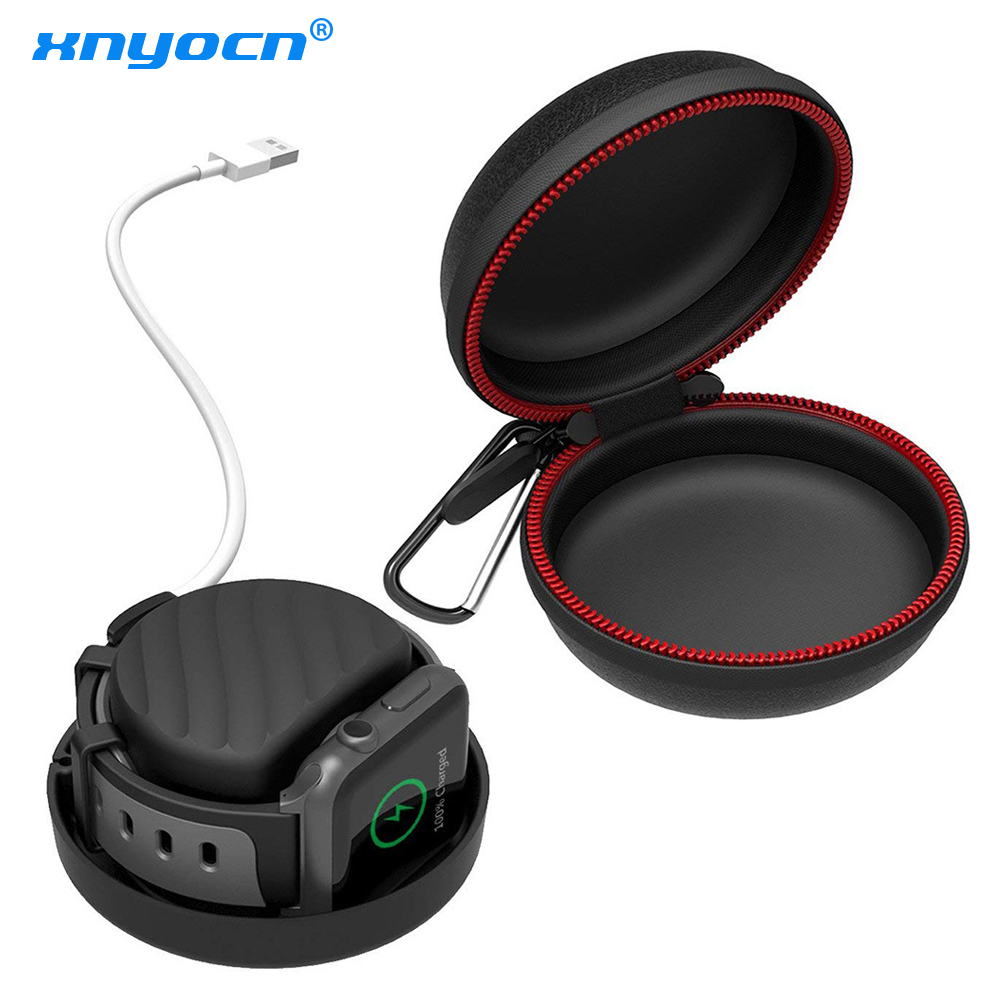 New Winding Charging Base Holder Dock Case Travel Silicone Protective Bag Pouch Case for Apple Watch Black