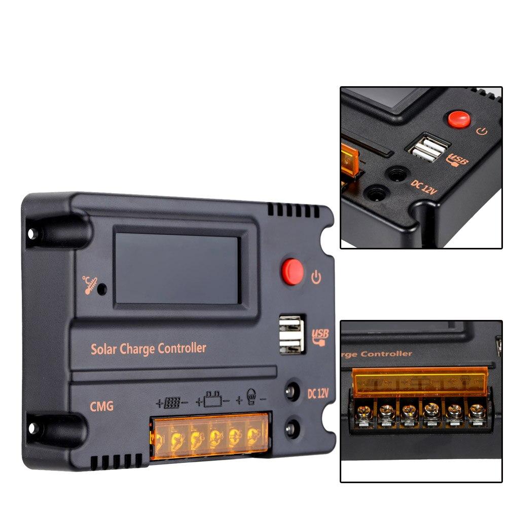 KKmoon Regulador de Carga Solar 10/A Regulador bater/ía Panel Solar Regulador Inteligente PWM 12/V//24/V con USB 5/V
