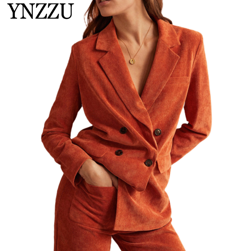 YNZZU 2019 Autumn Candy color Women Blazer Double breasted Loose casual Office lady suit Fashion Long sleeve Corduroy coat YO867