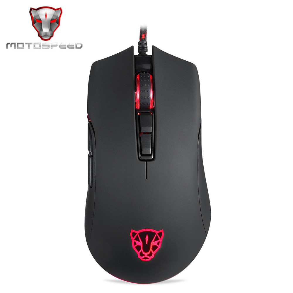 Motospeed V70 Gaming <font><b>Mouse</b></font> RGB <font><b>12000dpi</b></font> With 7 Key with PMW3360 Engine 250IPS Black color Multi-Color Backlight Send With Box image