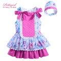 Pettigirl Новые Хлопок Принцесса Девушки Цветка Dress Hot Pink Bow Бутик Детские Платья Детская Одежда в Шляпе G-DMGD905-789
